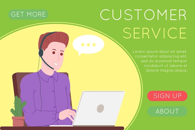 Call center, customer service, support and assistance landing page. hotline man and woman operator with headsets and laptop. concept of telemarketing and consultation. cartoon vector illustration.