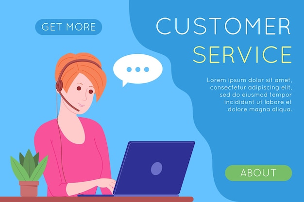 Call center, customer service, support and assistance landing page. hotline woman operator with headsets and laptop. concept of telemarketing and consultation. cartoon vector illustration.