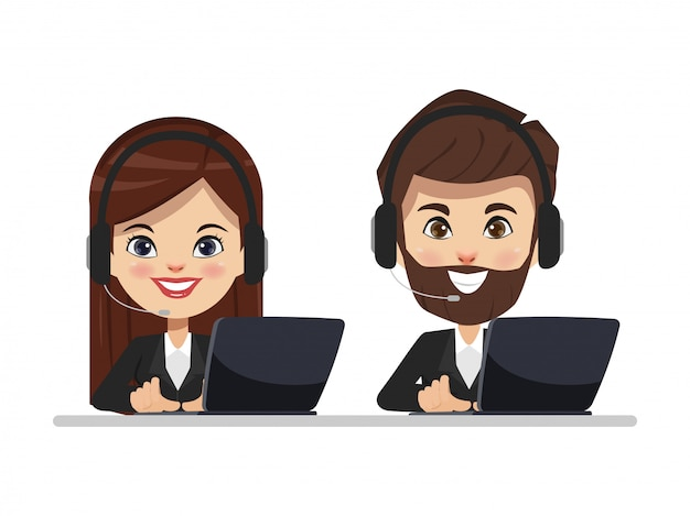 Call center to customer service with headset phone and laptop.