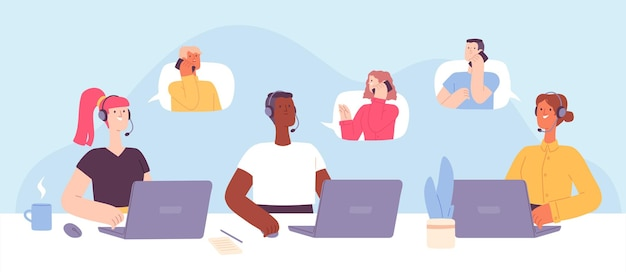 Call center. customer support service, female and male operators with headset at receptionist desk talking to client. hotline vector concept. illustration operator support center, call service