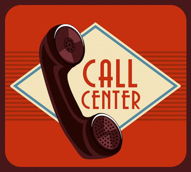 Call center design over brown background vector illustration