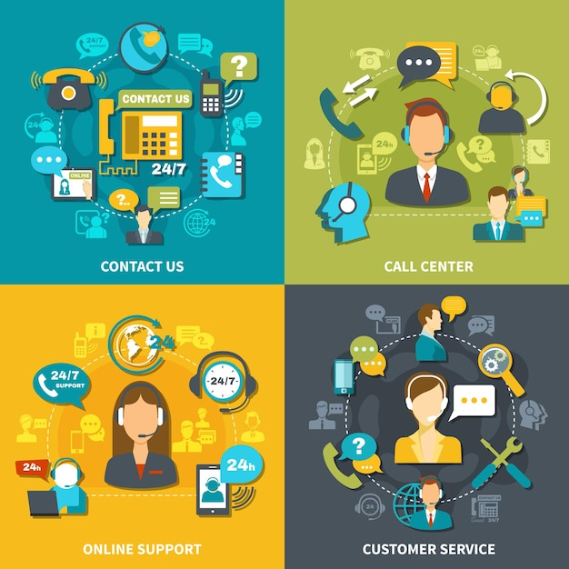 Call center design concept with customer service, online support 24/7, contact us isolated