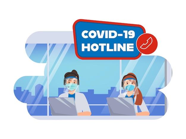 コールセンターの救急隊員ホットラインで、covid19病の患者を支援およびサポートします 無料ベクター