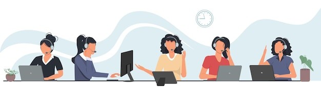 Сотрудники колл-центра работают за компьютерами. сотрудники отдела поддержки клиентов, агенты телемаркетинга.