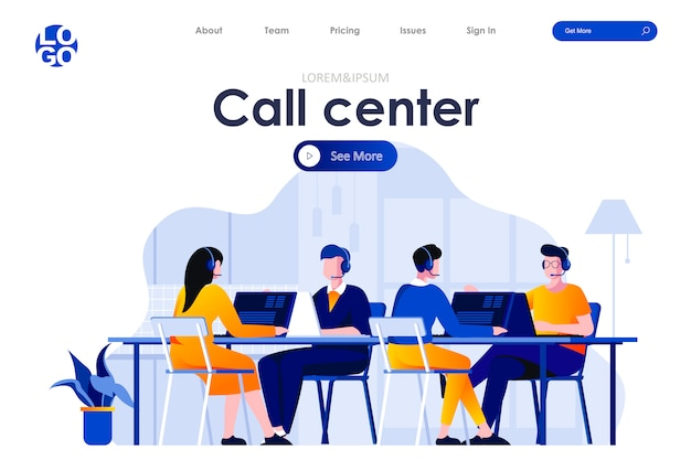 Call center flat landing page design web template
