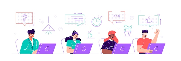 Call center, hotline flat  illustrations. smiling office workers with headsets cartoon characters. customer support department staff, telemarketing agents. multiethnic, diverse team. flat style.