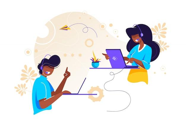 Call center, hotline  illustration for web