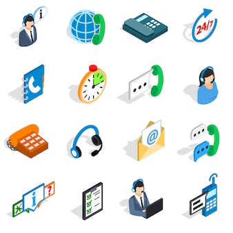 Call center icons in isometric 3d style. phone service set collection isolated vector illustration
