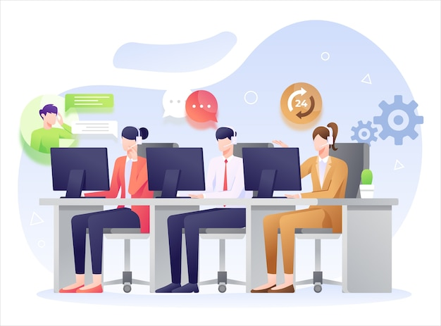 Call center  illustration, answering question from customer.