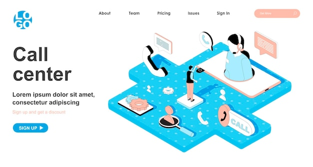 Call center isometric concept in 3d design for landing page