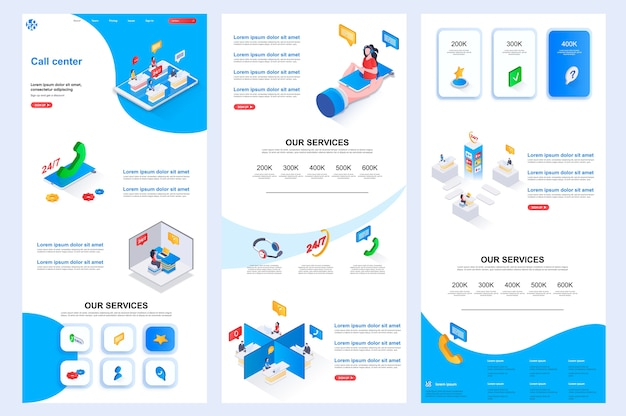 Call center isometric website template landing page middle content and footer