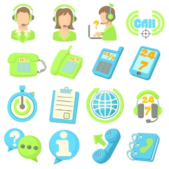 Call center items icons set