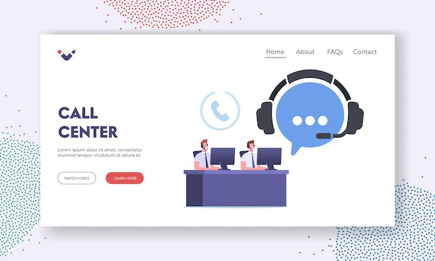 Call center landing page template. telemarketing hotline operator characters, consultation. technical support specialist sit at computer answering questions online. cartoon people vector illustration