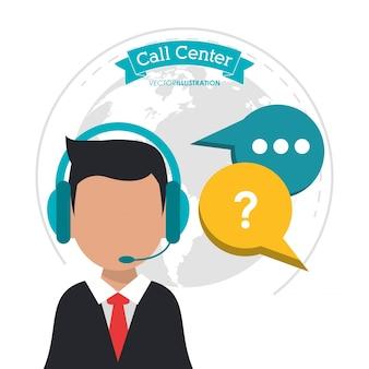 Call center man business communication