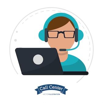 Call center man laptop headset