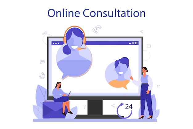 Call center online service or platform. idea of customer service. support clients and help them with problems. online consultation. vector illustration in flat style