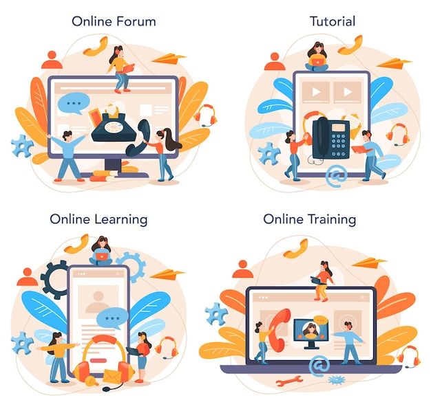 Call center online service or platform set. idea of customer service. supporting and providing customer with valuable information. online forum, tutorial, learning, training.