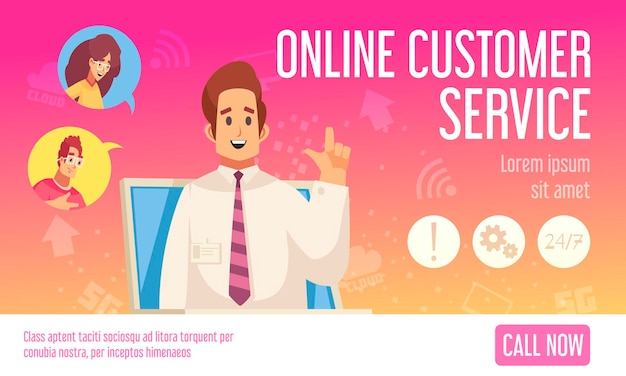 콜 센터 온라인 지원 고객 서비스 평면 수평 웹 배너