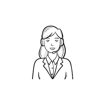 Call center operator in headset hand drawn outline doodle icon. technical, customer support, telemarket concept. vector sketch illustration for print, web, mobile and infographics on white background.