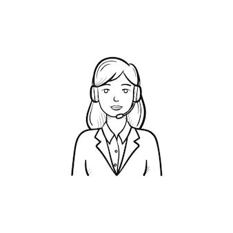 헤드셋 손으로 그린 개요 낙서 아이콘의 콜 센터 운영자. 기술, 고객 지원, 텔레마켓 개념입니다. 인쇄, 웹, 모바일 및 흰색 배경에 인포 그래픽에 대한 벡터 스케치 그림.