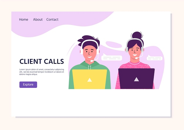 Call center operator landing pag for web. smiling office workers with headsets cartoon characters. clients assistance, hotline operator, consultant manager, customer support, client calls