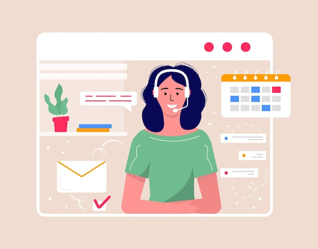 Call center operator landing pag for web. smiling office workers with headsets cartoon characters. clients assistance, hotline operator, consultant manager, customer support, telephone assistance.
