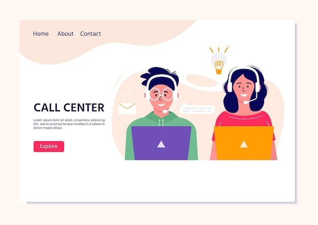 Webのコールセンターオペレーターのランディングページ。ヘッドセットの漫画のキャラクターと笑顔のサラリーマン。クライアントアシスタンス、ホットラインオペレーター、コンサルタントマネージャー、カスタマーサポート、電話アシスタンス。
