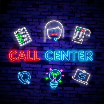 Call center operator neon light icon.