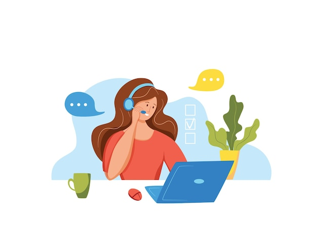 Call center operator vector illustration. customer online support manager woman working in headphones with microphone in customer support office cartoon flat concept for web, banner, landing page.
