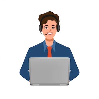 콜 센터 또는 사업가 캐릭터의 고객 서비스는 노트북 및 헤드셋 전화와 함께 포즈.