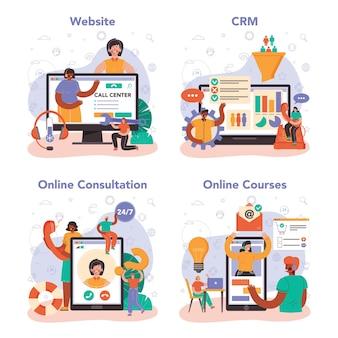 Колл-центр или служба технической поддержки онлайн или набор платформ. консультант