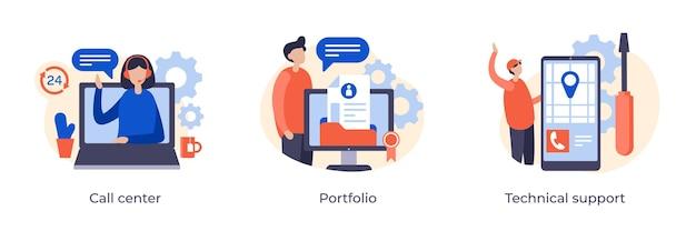 企業のウェブサイトページのコールセンター、ポートフォリオ、テクニカルサポートのコンセプトフラットイラスト。カスタマーサポート247