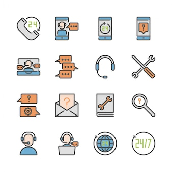 Call center and support in colorline icon set