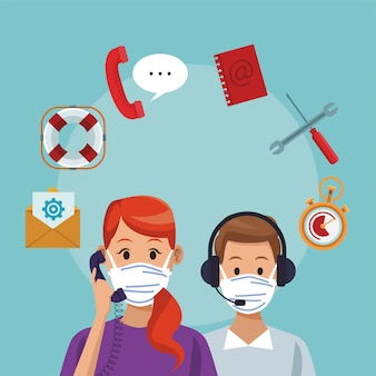 Call center support couple workers wearing medical mask