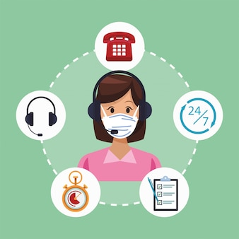 Call center support female worker wearing medical mask