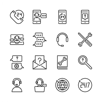 Call center and support icon set