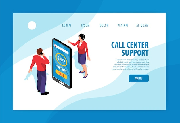 Call center support landing page template