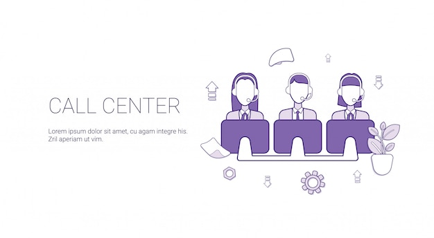 Call center support service template banner