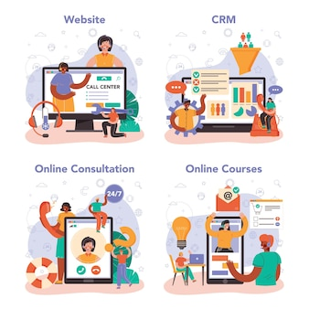 Call center or technical support online service or platform set. consultant