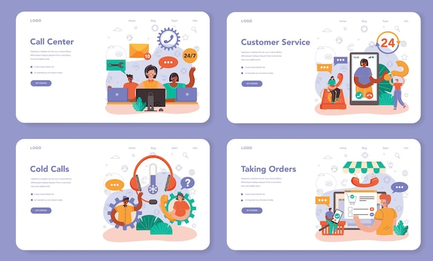 Call center or technical support web banner or landing page set. idea of a customer service. consultant helps a customer providing them with valuable information. vector illustration in flat style