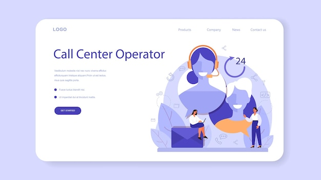 Call center or technical support web banner or landing page