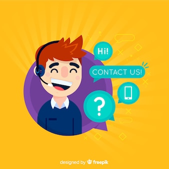 Call center telephonist flat design