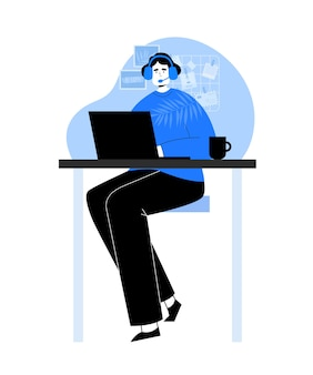 コールセンター。ノートパソコンとヘッドフォンを持つ女性。手描きスタイルのサービスセンター。技術サポート