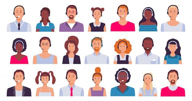 콜센터 근로자. 고객 지원 비서, 비서 직원 및 24 7 기술 지원 운영자 아바타 세트