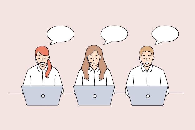 작업 개념 중 콜 센터 직원. 젊은 사람들의 작업자 그룹은 고객 벡터 일러스트레이션과 이야기하는 노트북을 들고 고객 서비스를 제공합니다.