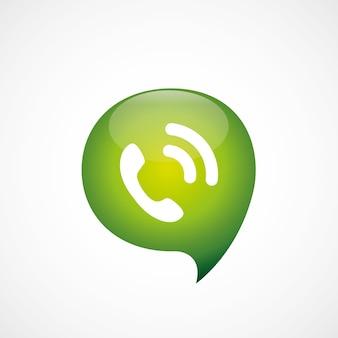 Значок вызова зеленый думаю логотип символ пузыря, изолированные на белом фоне