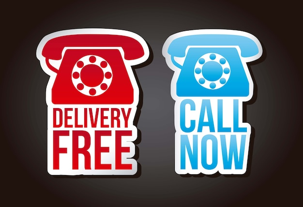 Call now and delivery free labels