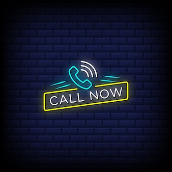 Call now neon signs style text