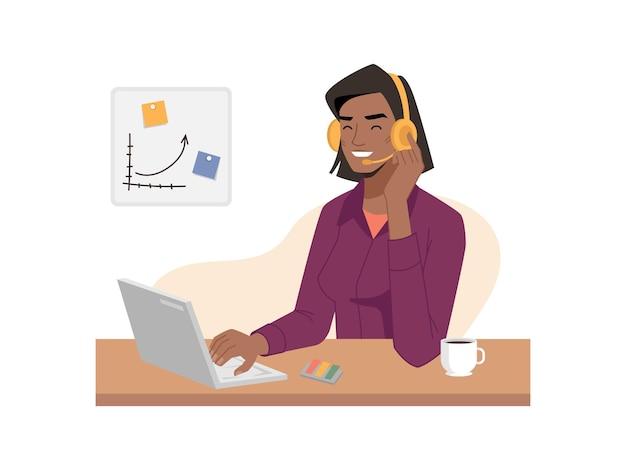 電話またはサポートセンターアフロアメリカ人女性オペレーターがマイク付きヘッドホンで話します