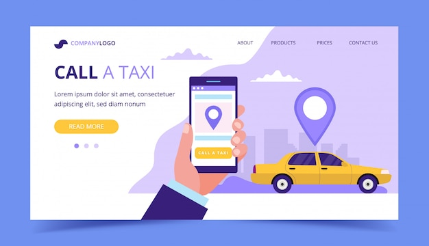 Call a taxi landing page. concept illustration with taxi car and hand holding a smartphone.